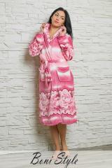 Женский розовый теплый  халат на флисе в розы