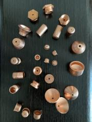 Electrodes and nozzles for plasma cutting