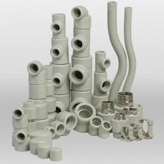 Pipes, tubes, hoses and a fitting from plastic