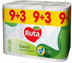Toilet paper white Ruta Classic of 9+3 rolls