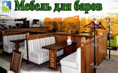 Furniture for bars of restaurants: wooden tables,