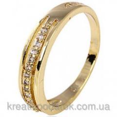Кольцо позолота Gold Filled дорожка с цирконами