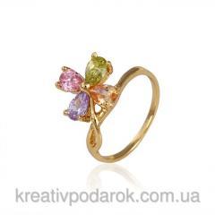 Кольцо позолота Gold Filled с разноцветными