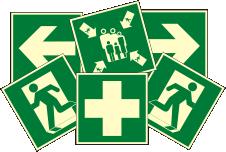 Эвакуационные знаки, фотолюминесцентные