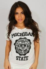"""Футболка №R6 """"Michigan State"""" (белый)"""
