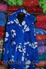 Женский махровый халат длинный крупный цветок S-