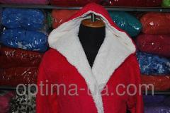Женский махровый халат однотонный короткий Декор