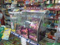 Витрина стеклянная на прилавок для сладостей - Куб