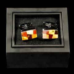 Cuff links are amber