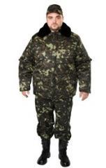 Бушлат камуфлированний, куртка з хутряним коміром