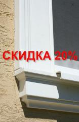 Frame of windows, front decor from polystyrene,