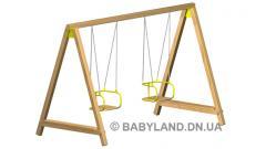 Wooden kachelya double on a flexible suspension