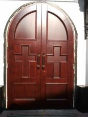 Doors for church from a natural tree (a maple, a