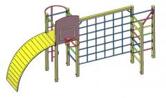 Gymnastic complex with a basketball backboard of