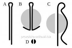 Шплинт, диаметр 4,0 мм, длина 20 мм, 22 мм, 25 мм, 28 мм, 32 мм, 36 мм, 40 мм, 45 мм, 50 мм, 56 мм, 63 мм. ГОСТ 397-79