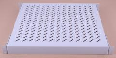 The shelf is perforated, gray, 1U, depth of 440