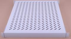 The shelf is perforated, gray, 1U, depth of 540
