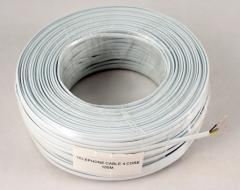 Telephone cable 4-wire., flat, copper, white