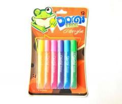 """Клей с блеском """"Domi Frog"""" 6 пастельных"""