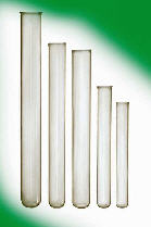 Glass laboratory glassware. Test tubes.