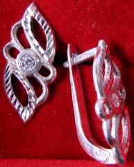 Серьги, серебро Ag 925° пробы, со вставками из