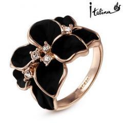 Женское кольцо черные цветы