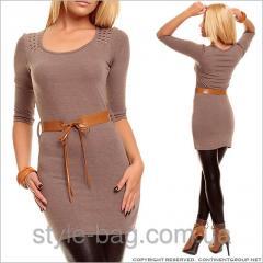Коричневое трикотажное платье-туника