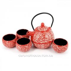 Сервиз чайный чайник 4 чашки керамика в подарочной