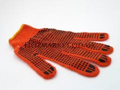 Перчатка ХБ оранжевая с ПВХ точкой (700грамм)