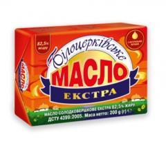 Масло сладкосливочное «Экстра», ТМ «Белоцерковское» 82,5% жира, 200 г, фольга