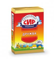 Processed cheese Druzhba, 50% fat in dry matter, 90 g, aluminum foil