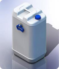Plastic canister of 70 l with handles