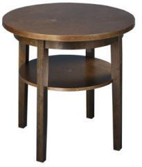 Круглый диванный столик с дополнительной полкой