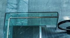 Bent glass for a ladder handrail