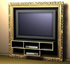 Design furniture for flat TV, the frame of the carved baguette