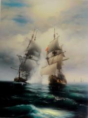 Picture Fight of Two Sailing Vessels 190 x 145 Cm, canvas, oil