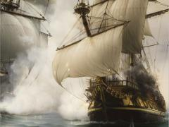 Picture fragment fight of two sailing vessels
