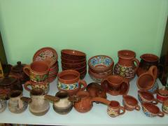 Potter's glazed ware for a table.