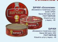 Bichki natural in tomato sauce from the producer