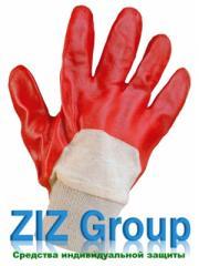 Перчатки ПВХ вязанный манжет не полное покрытие