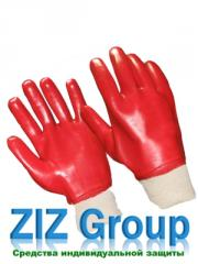 Перчатки ПВХ вязанный манжет полное покрытие