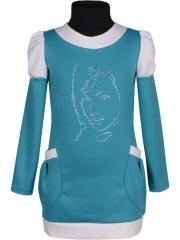 "Tunic with a sleeve ""Cats"" blue"