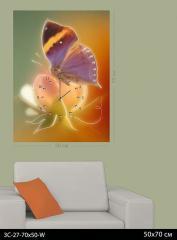 Картина-часы Фиолетовая бабочка 3С-27-70x50-W