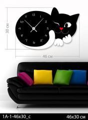 Акриловые часы Подмигивающий котик, код  1А-1-46х30
