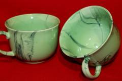 Зеленая чашка-пиала с ручкой