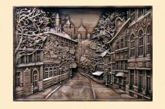"""Pictures carved on a tree. Work """"City"""