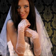 Gloves wedding embroidered handwork