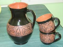 Potter's jug and cups.
