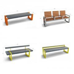 Benches are park, garden in assortment from the