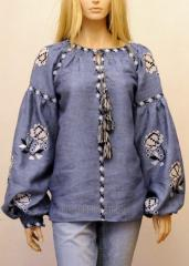 The blouse embroidered stylish bokho on flax